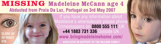 Madeline McCann - a young 4 year old cruelly abducted from Praia Da Luz, Portugal on 3rd May 2007